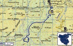 Mapa Sendero LLanos del Rabel
