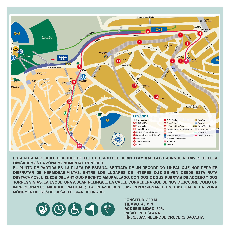 Mapa Ruta Accesible de Extramuros. FOTO: Turismo Vejer de la Frontera